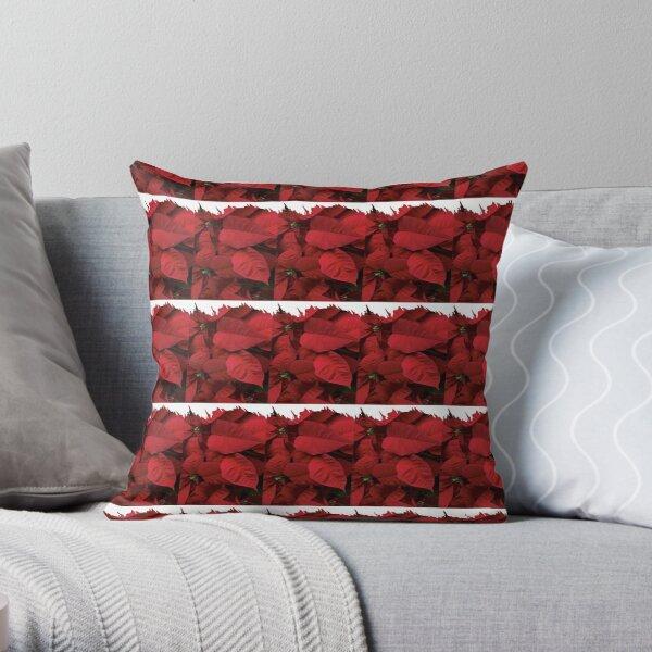 Romantic Red Poinsettia design with a white trim  Throw Pillow