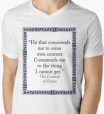 He That Commends Me - Shakespeare Men's V-Neck T-Shirt