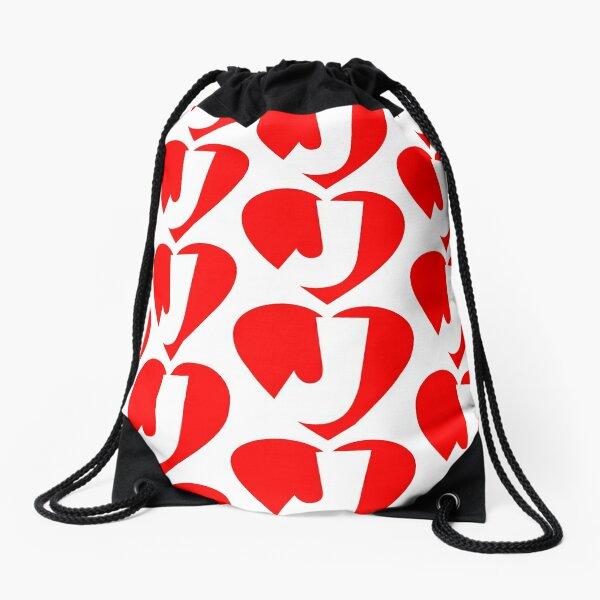 I love J - Heart J - Heart with letter J Drawstring Bag