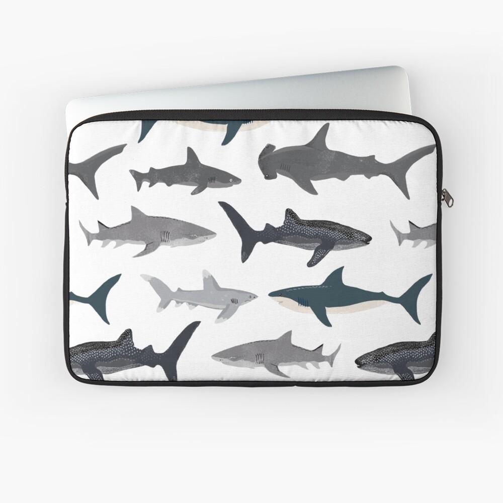 Sharks, illustration, art print ,ocean life,sea life ,animal ,marine biologist ,kids ,boys, gender neutral ,educational ,Andrea Lauren , shark week, shark, great white shark,  Laptop Sleeve