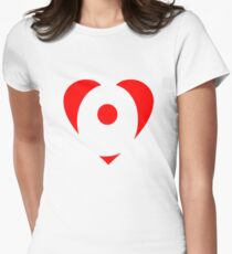 I love O - Heart O - Heart with letter O Womens Fitted T-Shirt