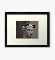 Mercury head stone sculpture Framed Print