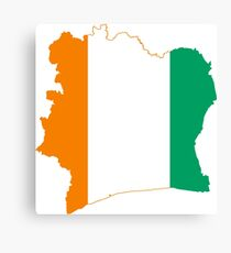 Flag Map of Côte d'Ivoire Canvas Print