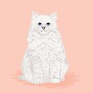 Fluffy white cat pet friendly pet portraits custom cat lady gifts  by PetFriendly