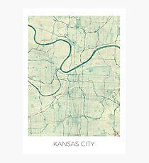 Kansas City Map Blue Vintage Photographic Print