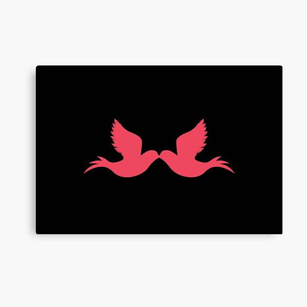 Trendy logo, love, red and black, doves, peace and love Canvas Print