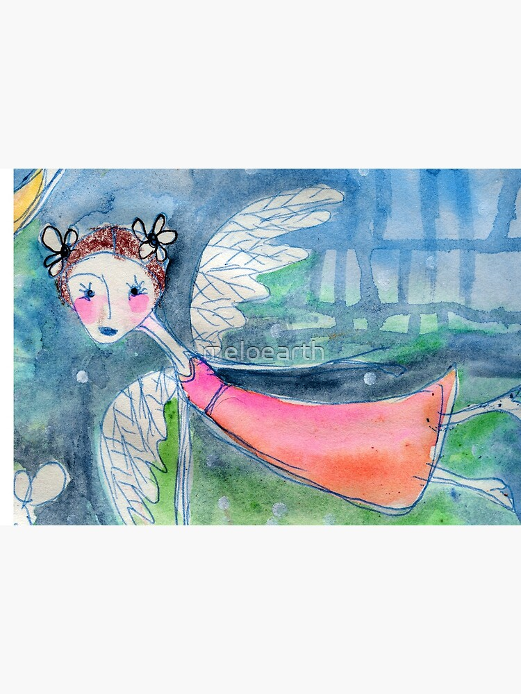 Flying Angel Open Wings in Blue and Green Colors by meloearth