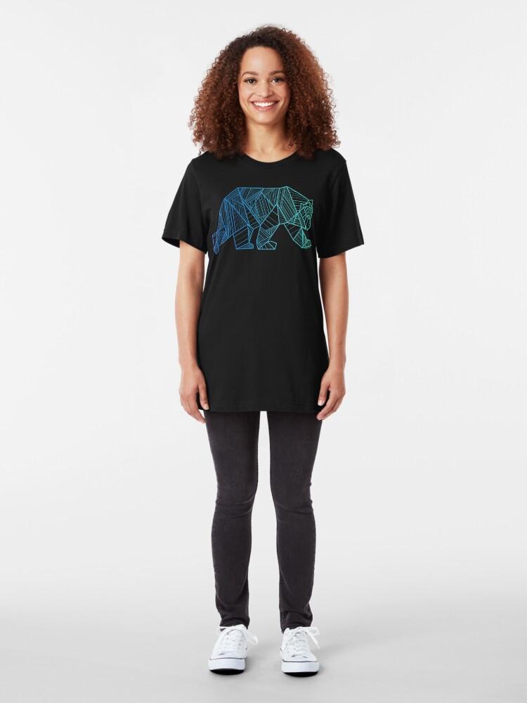 Alternate view of Geometric Bear T Shirt  - Geometrical Bear Shirt - Camping and Hiking Shirt - Mountains T-Shirt - Wilderness Outdoors Shirt Slim Fit T-Shirt