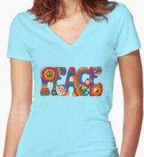 Psychedelischer Frieden Tailliertes T-Shirt mit V-Ausschnitt