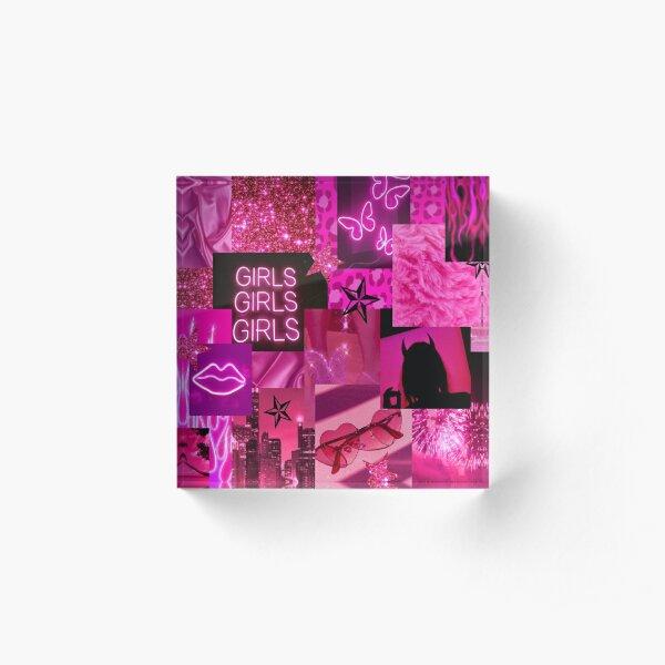 HOT PINK girl aesthetic Acrylic Block