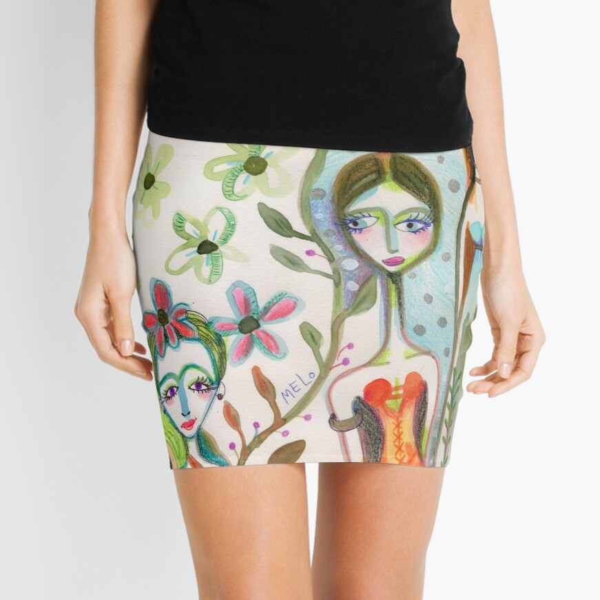 Girlfriends with Frida Kahlo and a Dog Mini Skirt