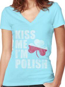 Kiss Me I'm Polish St Patrick's Day Women's Fitted V-Neck T-Shirt