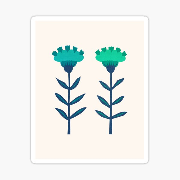 Folk Flowers Botanical - Blue Sticker