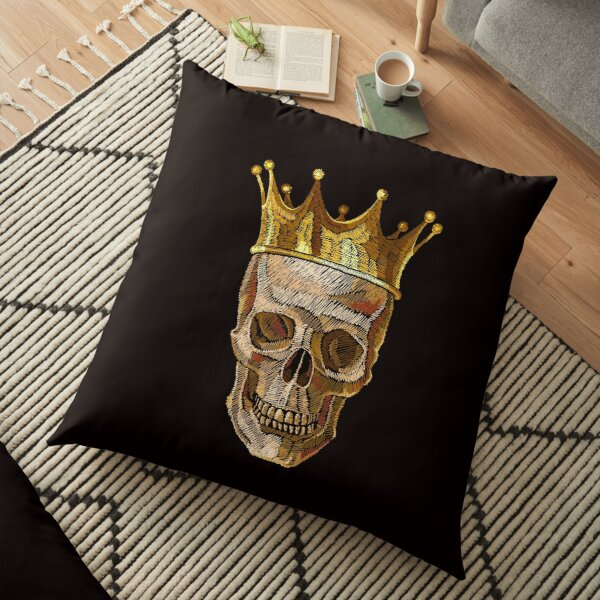 Embroidery golden crown and skull Floor Pillow