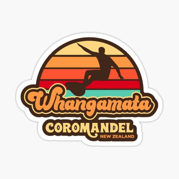 Whangamata Retro Surfing New Zealand Sticker