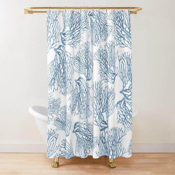 Blue Sea Fan Coral Pattern - Coastal Theme Shower Curtain