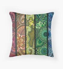 Rainbow Mendhi Throw Pillow
