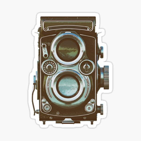Retro Camera twin lens lomography - vintage colors Sticker