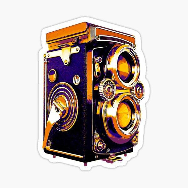 Retro Camera twin lens lomography - orange and violet Sticker