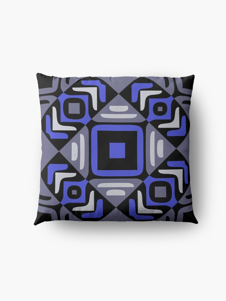 Alternate view of Modern Abstract Geometric Black Grey Blue Pattern Design 760 Floor Pillow