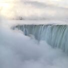 Niagara Falls covered in mist beautiful sunrise scenery art photo print by ArtNudePhotos