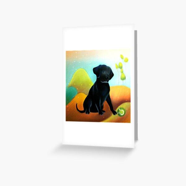 Libby Lab cartoon pastel painting Greeting Card