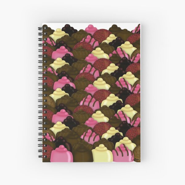 Never Too Much Chocolate - Valentines Day Candy Pattern Spiral Notebook