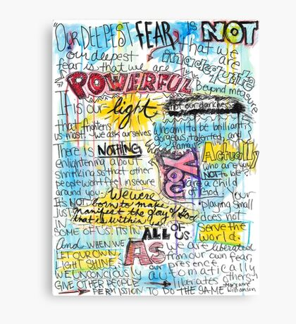 """Marianne Williamson Quote - """"Our deepest fear is not that we are inadequate"""" Canvas Print"""