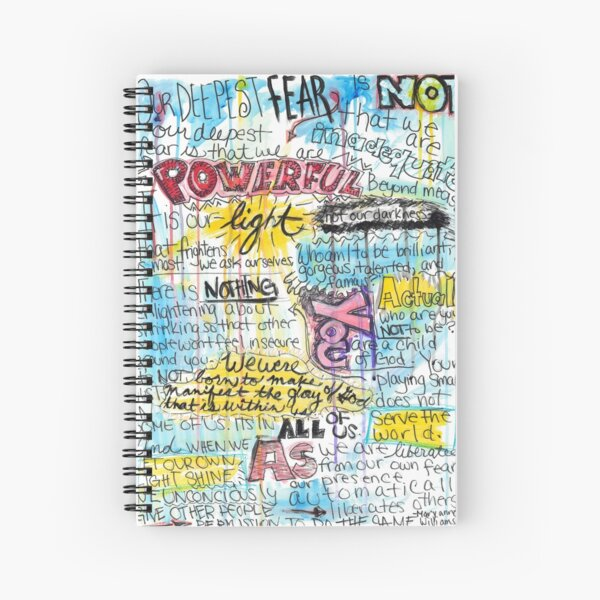 """Marianne Williamson Quote - """"Our deepest fear is not that we are inadequate"""" Spiral Notebook"""