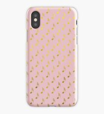 Gold Pink Musical Notes Metallic Faux Foil Pattern  iPhone Case/Skin
