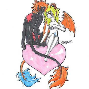 Demon Creature Couple on Heart by KimmieKat97