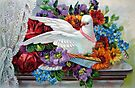 White Dove with Flowers by FrankieCat
