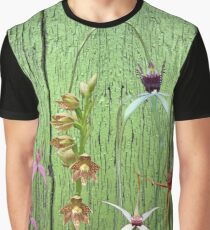 Cerise Spider Orchid on Green Painted Wall, native orchids of Western Australia. Graphic T-Shirt