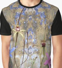 Silky Blue & Orchids with Blue Rusty Metal, native orchids of Western Australia. Graphic T-Shirt