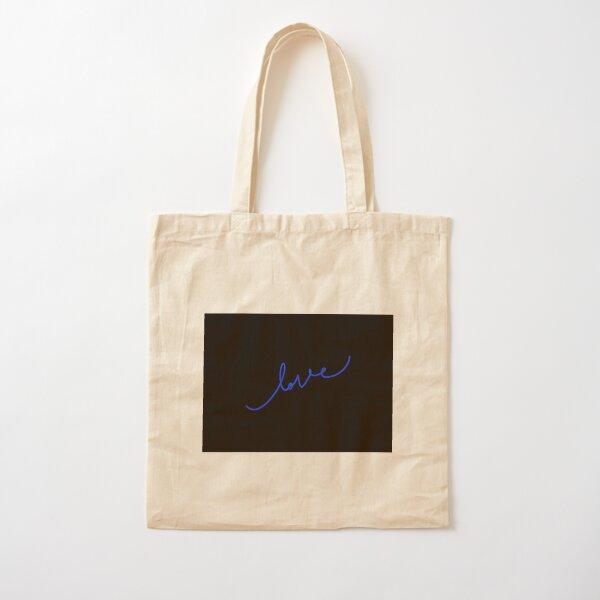"Blue and black ""love"" logo Cotton Tote Bag"