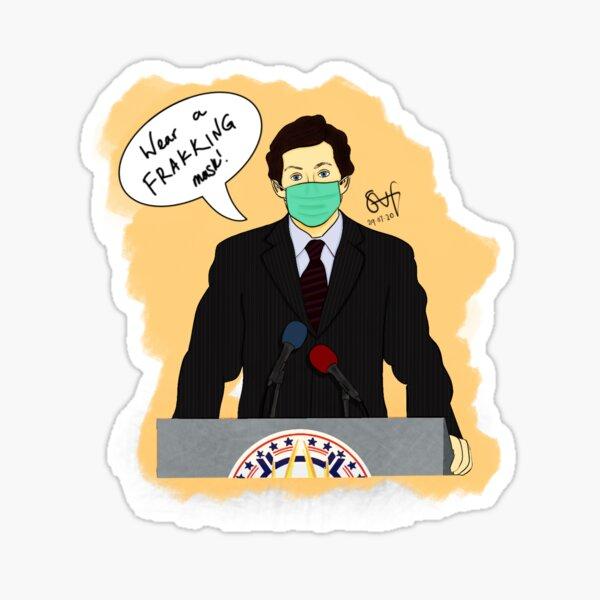 Lee Adama - Wear A Frakking Mask! Sticker