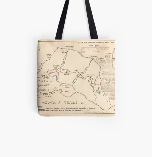 Mowglis Trails Map - 1951 All Over Print Tote Bag