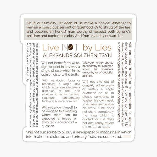 Live not by Lies Alexander Solzhenitsyn Sticker