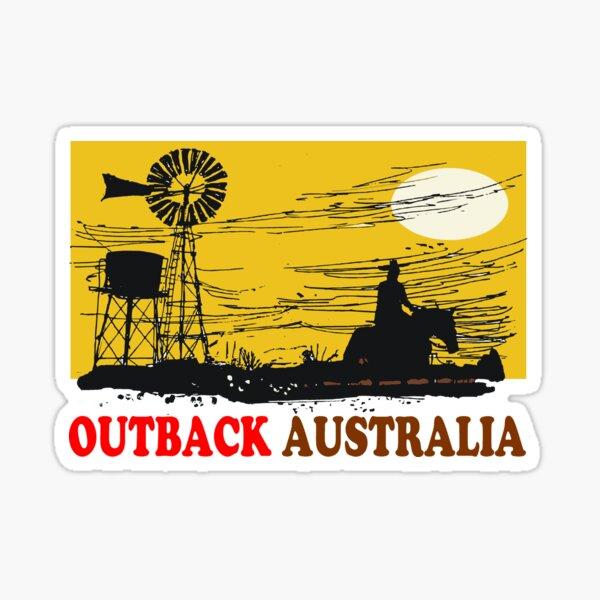 Outback Australia stockman on horse silhouette design Sticker