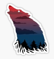Scary howling wolf Sticker