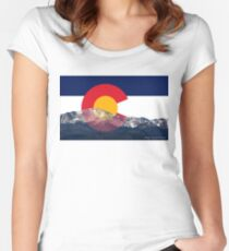 Pikes Peak Colorado Flag Women's Fitted Scoop T-Shirt
