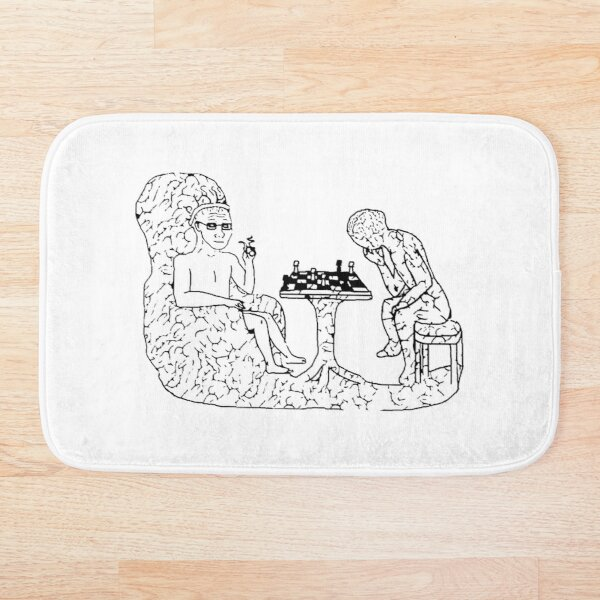 Brain Playing Chess Himself *HIGH QUALITY* Bath Mat