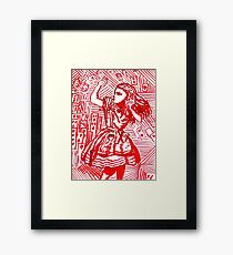 Alice and the deck of cards Framed Print