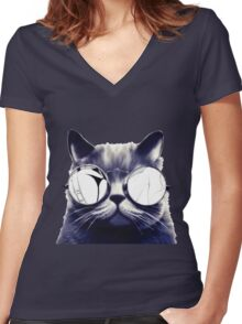 Vintage Cat Wearing Glasses Women's Fitted V-Neck T-Shirt