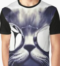 Vintage Cat Wearing Glasses Graphic T-Shirt