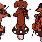 Dachshund Musicians String Trio by HappyLabradors