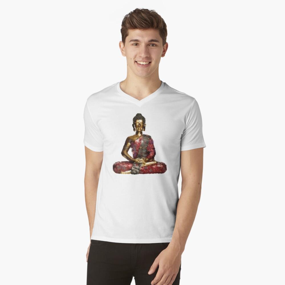 Buddha Mens V-Neck T-Shirt Front