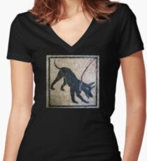 Cave canem- ancient Pompeii Women's Fitted V-Neck T-Shirt