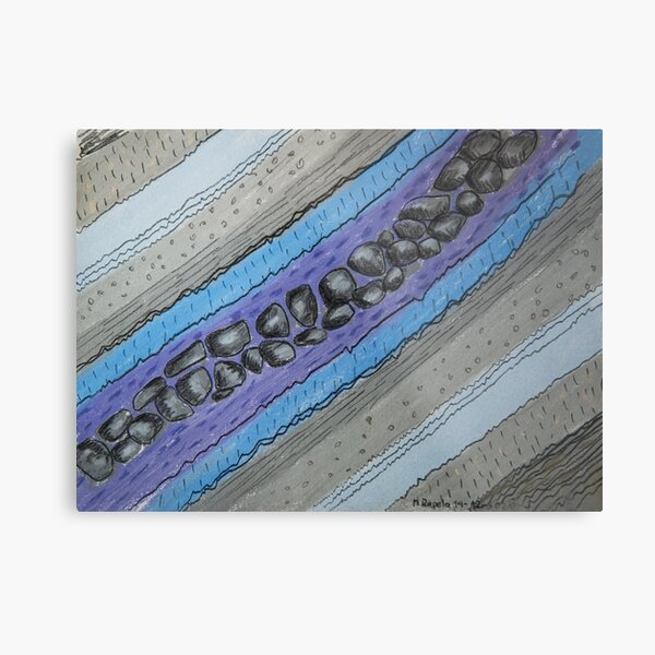 Stratigraphy IV - Blue and grey Metal Print