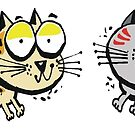 Cartoon design of four happy cats by Al Benge